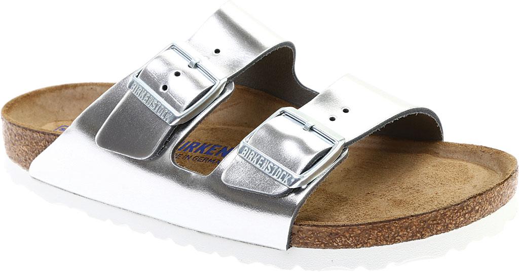 Women's Birkenstock Arizona Soft Footbed Leather Sandal, Metallic Silver Leather, large, image 1
