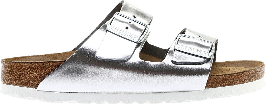 Women's Birkenstock Arizona Soft Footbed Leather Sandal, Metallic Silver Leather, large, image 2
