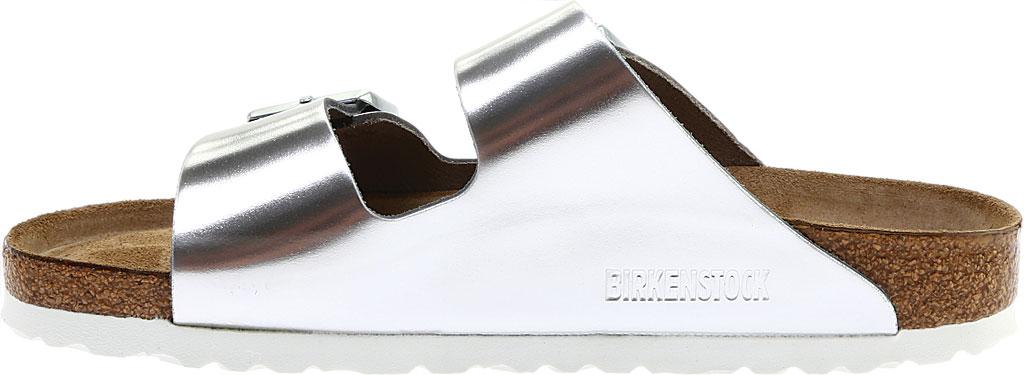 Women's Birkenstock Arizona Soft Footbed Leather Sandal, Metallic Silver Leather, large, image 3