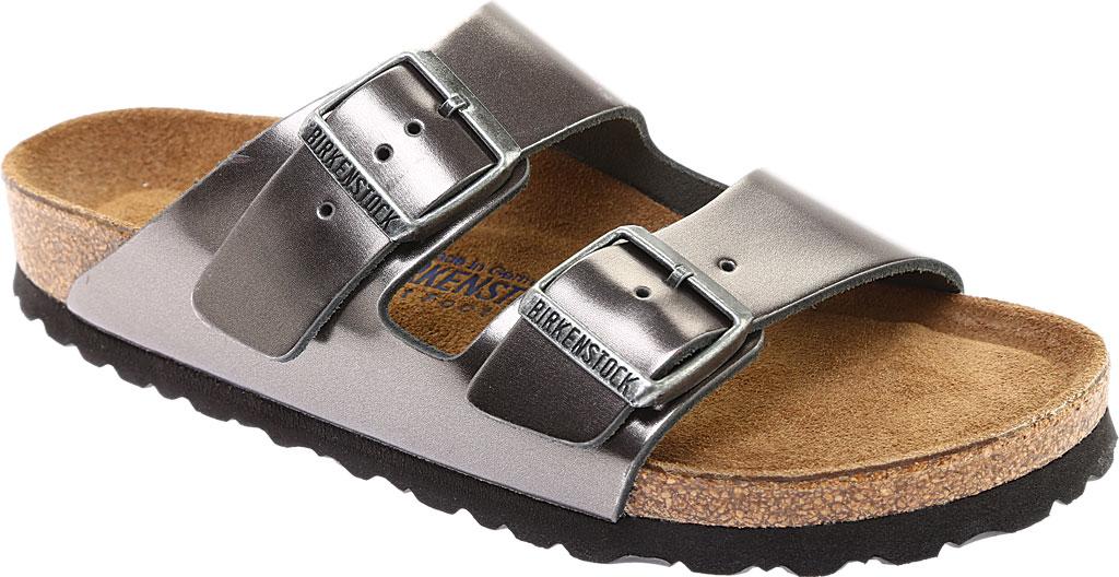 Women's Birkenstock Arizona Soft Footbed Leather Sandal, Metallic Anthracite Leather, large, image 1