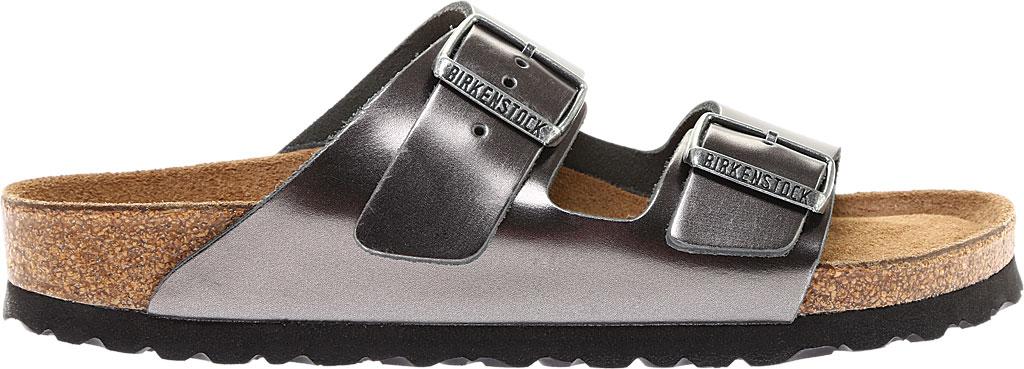 Women's Birkenstock Arizona Soft Footbed Leather Sandal, Metallic Anthracite Leather, large, image 2