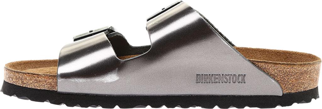 Women's Birkenstock Arizona Soft Footbed Leather Sandal, Metallic Anthracite Leather, large, image 3