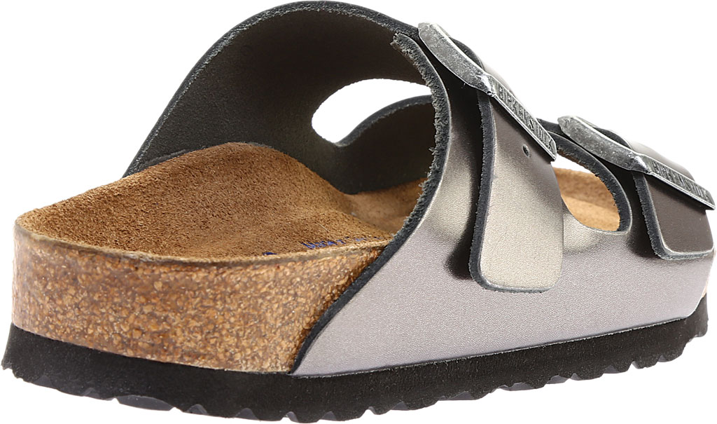 Women's Birkenstock Arizona Soft Footbed Leather Sandal, Metallic Anthracite Leather, large, image 4