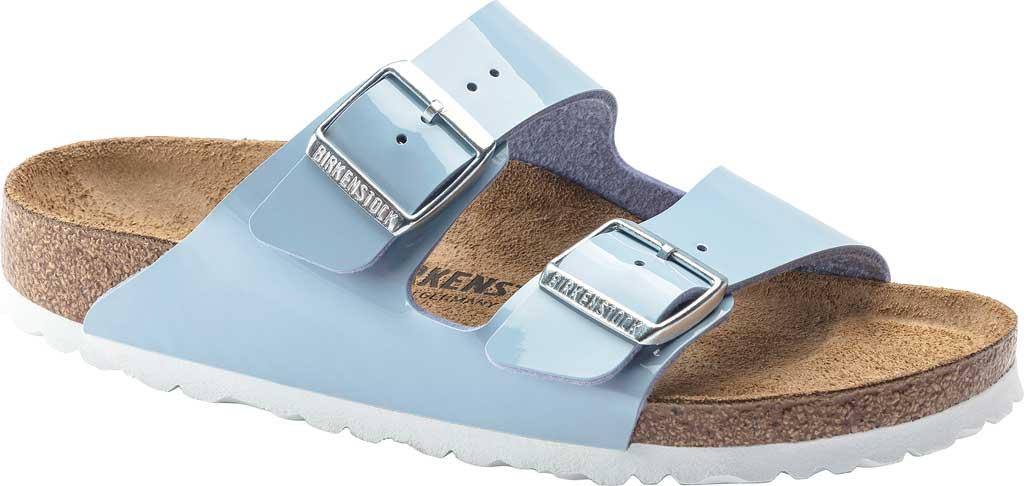Women's Birkenstock Arizona Birko-Flor Slide Sandal, Dove Blue Patent Birko-Flor, large, image 1