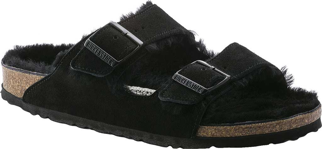 Women's Birkenstock Arizona Shearling Sandal, Black Suede/Black Shearling, large, image 1