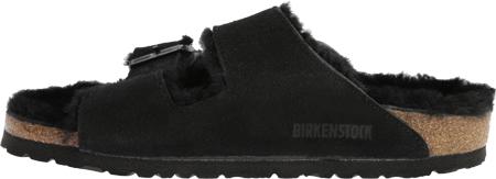 Women's Birkenstock Arizona Shearling Sandal, Black Suede/Black Shearling, large, image 3