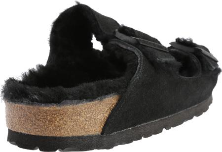 Women's Birkenstock Arizona Shearling Sandal, Black Suede/Black Shearling, large, image 4