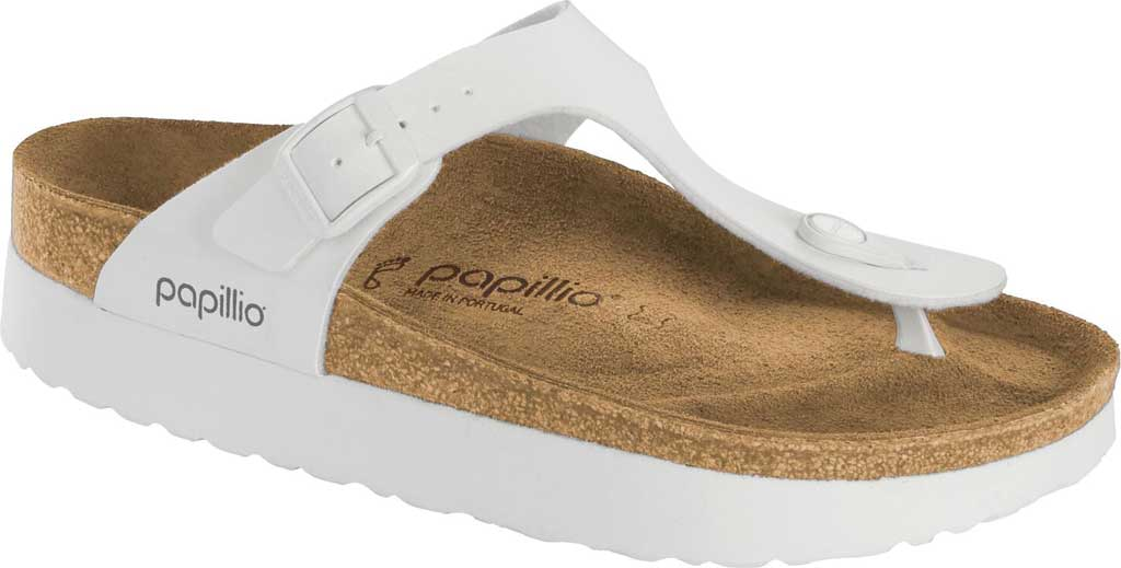 Women's Birkenstock Papillio Gizeh Platform Thong Sandal, White Birko-Flor, large, image 1