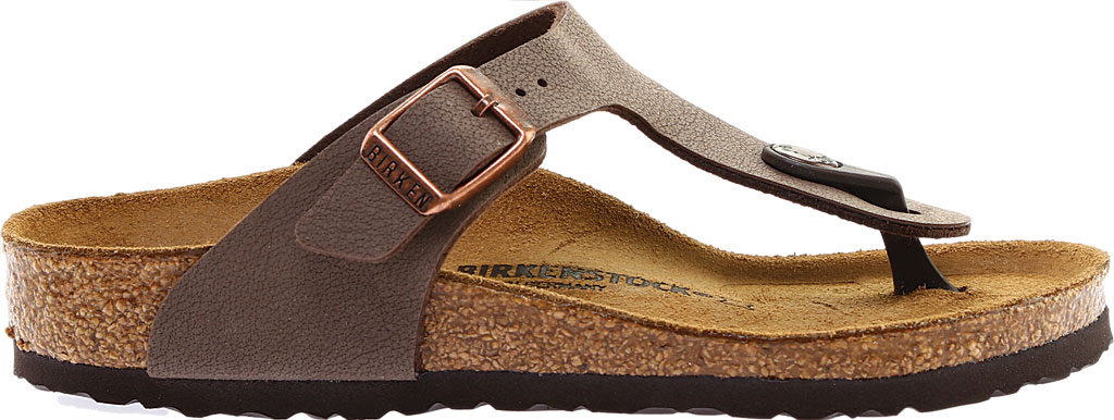Girls' Birkenstock Gizeh Birkibuc Sandal, Mocha Birkibuc, large, image 2