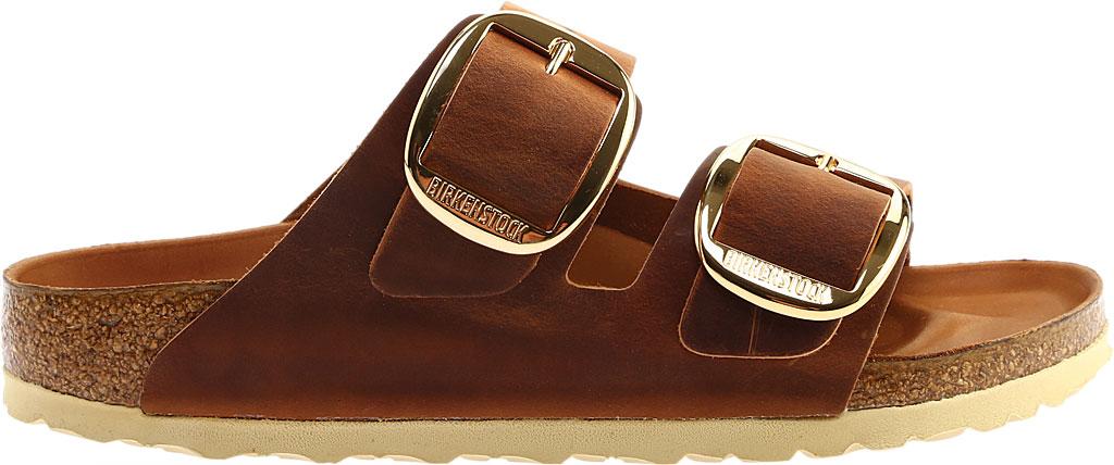 Women's Birkenstock Arizona Big Buckle Oiled Leather Slide, Cognac Oiled Leather, large, image 2
