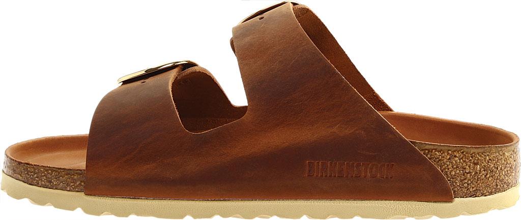 Women's Birkenstock Arizona Big Buckle Oiled Leather Slide, Cognac Oiled Leather, large, image 3
