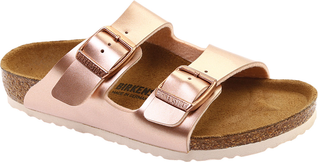 Children's Birkenstock Arizona Birko-Flor Slide, Electric Metallic Copper Birko Flor, large, image 1