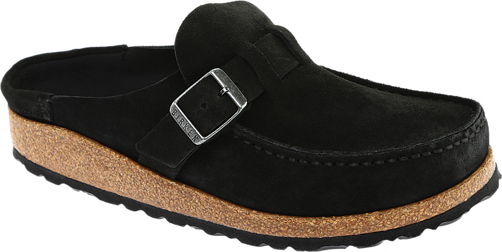 Women's Birkenstock Buckley Mule, Black Suede, large, image 1