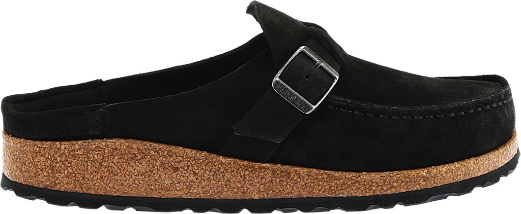Women's Birkenstock Buckley Mule, Black Suede, large, image 2
