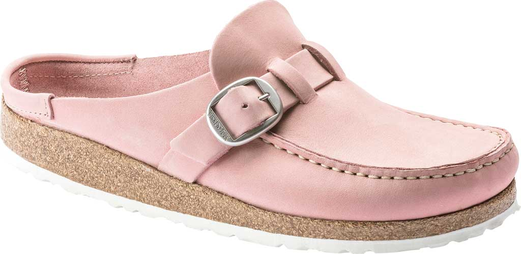 Women's Birkenstock Buckley Mule, Embossed Soft Pink Nubuck, large, image 1