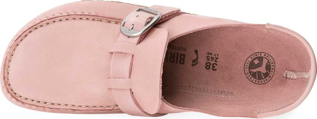 Women's Birkenstock Buckley Mule, Embossed Soft Pink Nubuck, large, image 2