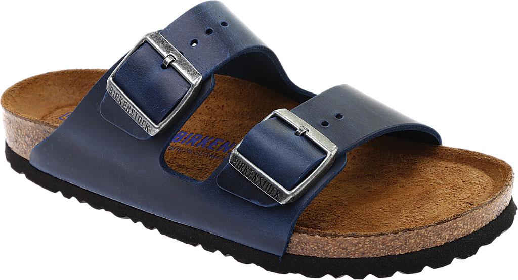 Birkenstock Arizona Soft Footbed Oil Leather Slide, Blue Oiled Leather, large, image 1