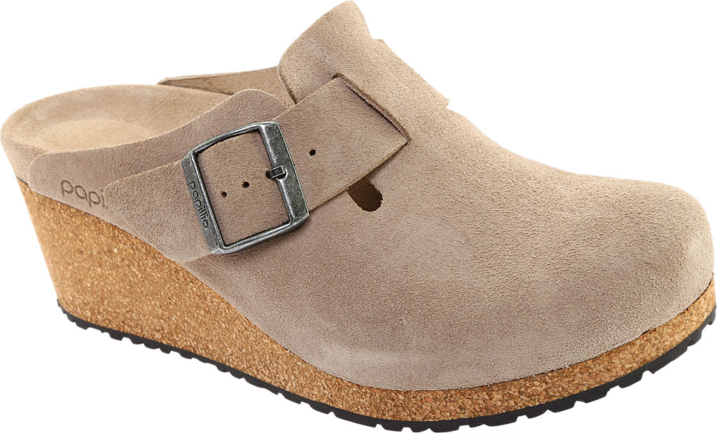 Women's Birkenstock Fanny Wedge Clog, Taupe Suede, large, image 1