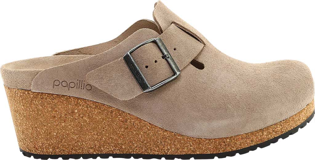 Women's Birkenstock Fanny Wedge Clog, Taupe Suede, large, image 2