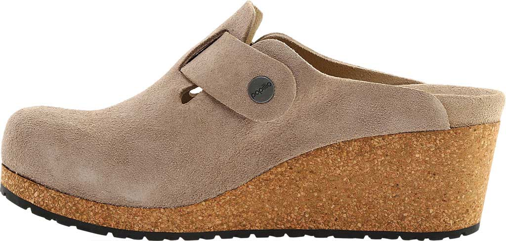 Women's Birkenstock Fanny Wedge Clog, Taupe Suede, large, image 3