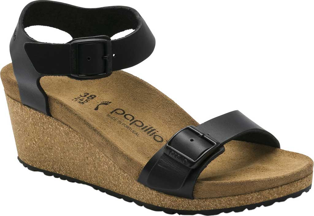 Women's Birkenstock Papillio Soley Ankle Strap Wedge Sandal, Black Leather, large, image 1