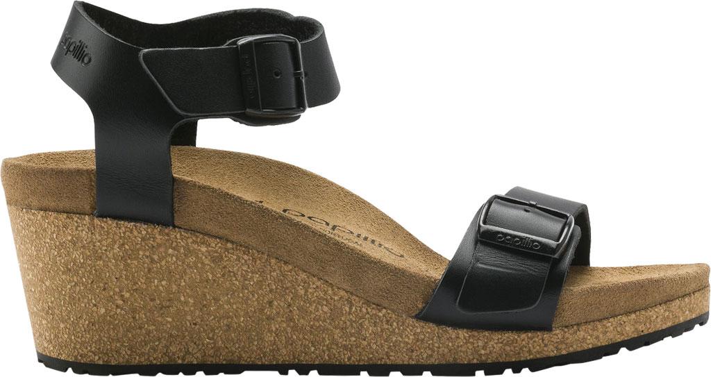Women's Birkenstock Papillio Soley Ankle Strap Wedge Sandal, Black Leather, large, image 2
