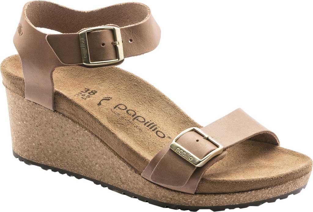 Women's Birkenstock Papillio Soley Ankle Strap Wedge Sandal, Light Cognac Leather, large, image 1
