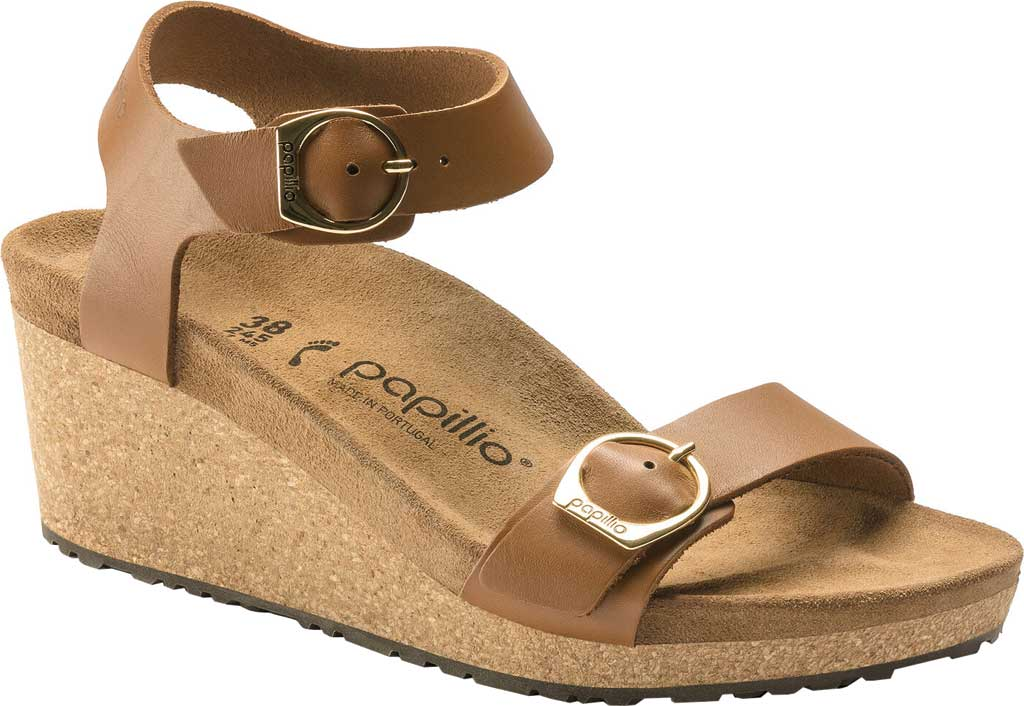 Women's Birkenstock Papillio Soley Ankle Strap Wedge Sandal, Ginger Brown Leather, large, image 1