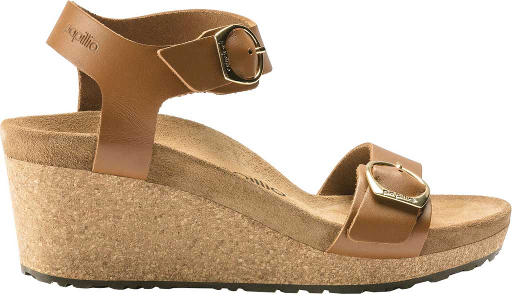 Women's Birkenstock Papillio Soley Ankle Strap Wedge Sandal, Ginger Brown Leather, large, image 2