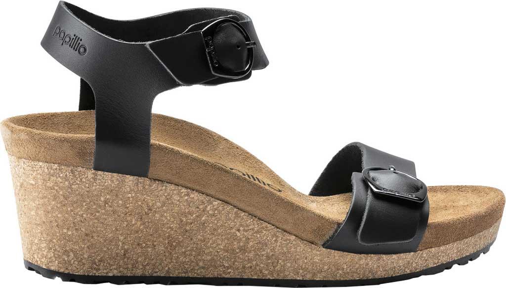 Women's Birkenstock Papillio Soley Ankle Strap Wedge Sandal, Black Leather 2, large, image 2