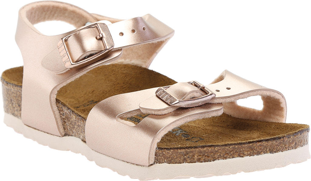 Girls' Birkenstock Rio Birko-Flor Ankle Strap Sandal, Electric Metallic Copper Birko-Flor, large, image 1