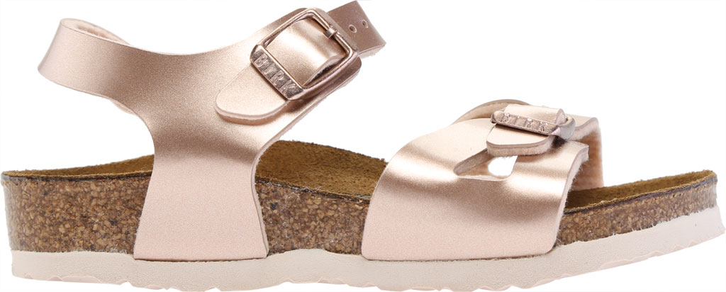 Girls' Birkenstock Rio Birko-Flor Ankle Strap Sandal, Electric Metallic Copper Birko-Flor, large, image 2
