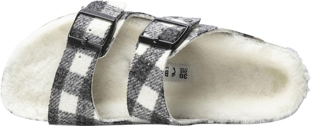 Women's Birkenstock Arizona Shearling Two Strap Slide, Plaid White/Natural Wool, large, image 3