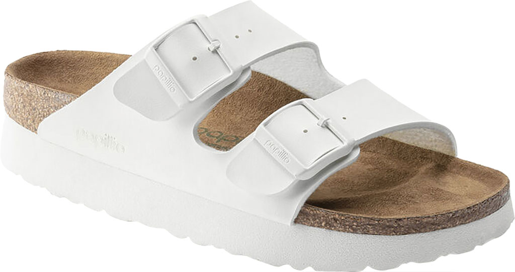 Women's Birkenstock Papillio Arizona Platform Vegan Two Strap Slide, White Birko-Flor, large, image 1