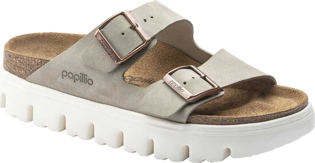 Women's Birkenstock Arizona Chunky Two Strap Slide, Taupe Suede, large, image 1