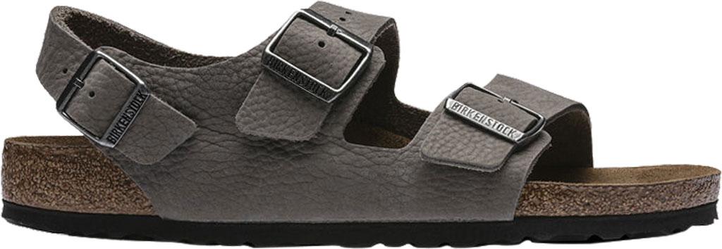 Men's Birkenstock Milano Soft Footbed Sandal, Soft Whale Gray Nubuck, large, image 2