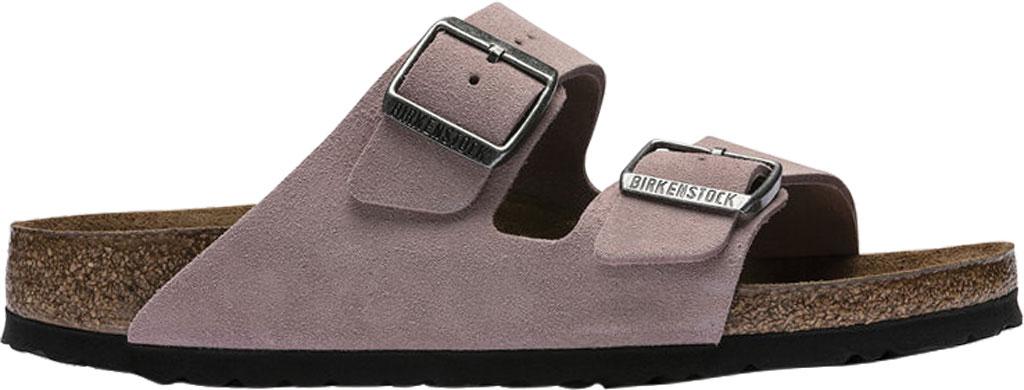 Women's Birkenstock Arizona Suede Soft Footbed Two Strap Slide, Lavender Blush Suede, large, image 2