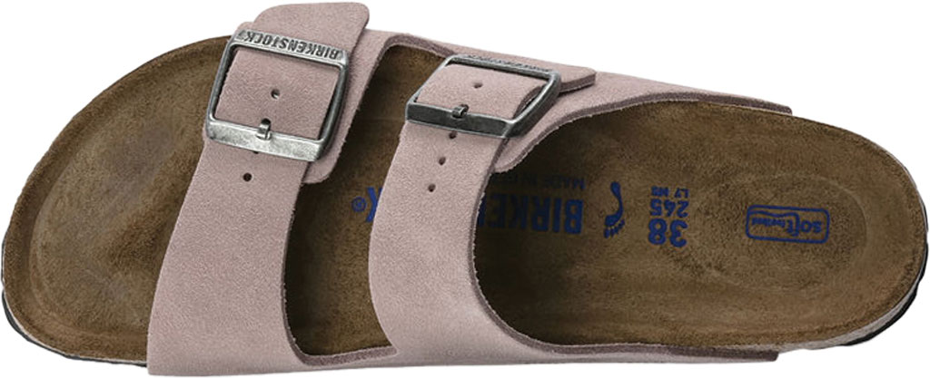 Women's Birkenstock Arizona Suede Soft Footbed Two Strap Slide, Lavender Blush Suede, large, image 3