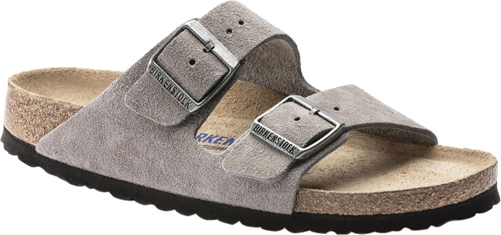 Women's Birkenstock Arizona Suede Soft Footbed Two Strap Slide, Stone Coin Suede, large, image 1