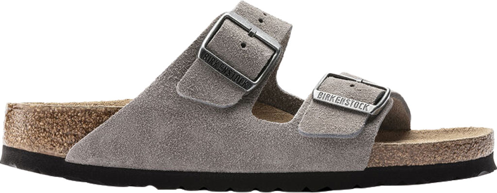 Women's Birkenstock Arizona Suede Soft Footbed Two Strap Slide, Stone Coin Suede, large, image 2
