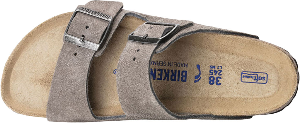 Women's Birkenstock Arizona Suede Soft Footbed Two Strap Slide, Stone Coin Suede, large, image 3