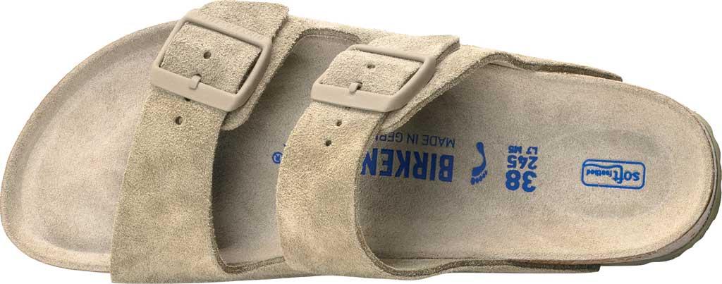 Women's Birkenstock Arizona Suede Soft Footbed Two Strap Slide, Faded Khaki Suede, large, image 2