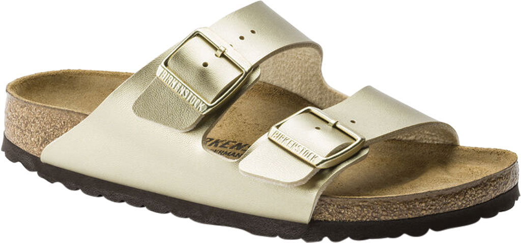 Women's Birkenstock Arizona Buckle Two Strap Slide, Gold Birko-Flor, large, image 1