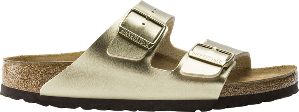 Women's Birkenstock Arizona Buckle Two Strap Slide, Gold Birko-Flor, large, image 2