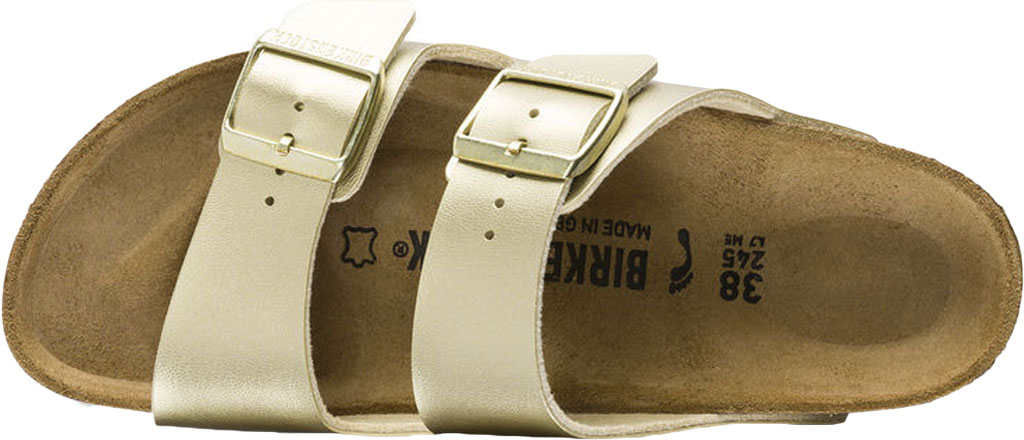 Women's Birkenstock Arizona Buckle Two Strap Slide, Gold Birko-Flor, large, image 3