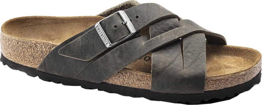 Men's Birkenstock Lugano Oiled Leather Slide, Khaki Oiled Nubuck Leather, large, image 1