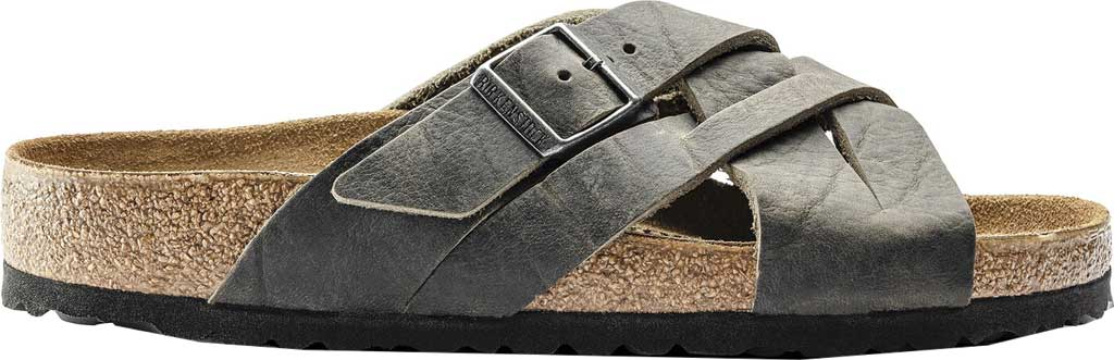 Men's Birkenstock Lugano Oiled Leather Slide, Khaki Oiled Nubuck Leather, large, image 2