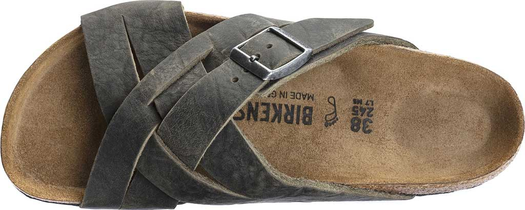 Men's Birkenstock Lugano Oiled Leather Slide, Khaki Oiled Nubuck Leather, large, image 3