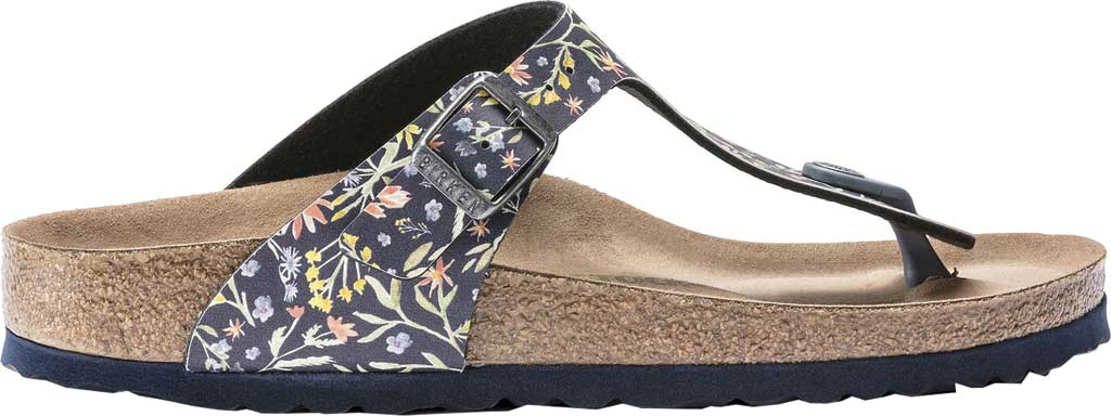 Women's Birkenstock Gizeh Vegan T-Strap Sandal, Watercolor Flower Navy Birko-Flor, large, image 2