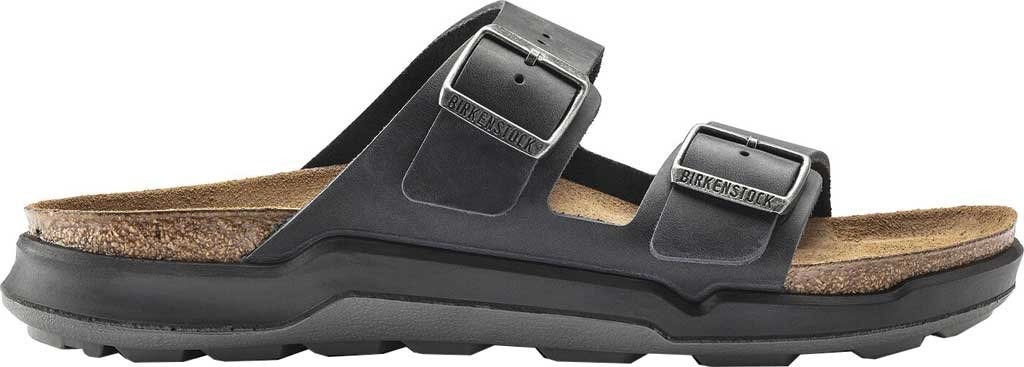 Men's Birkenstock Arizona CT Slide, Black Oiled Nubuck Leather, large, image 2